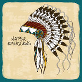 Illustration with Native American Indian chief headdress — Wektor stockowy