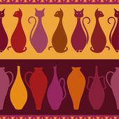 Etnický vzor bezešvé s kočkami a vázy — Stock vektor