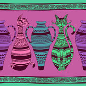 Ethnic seamless pattern with ornated cats and vases — Stock Vector