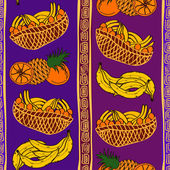 Ethnic seamless pattern of fruits — Stock Vector