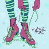 Illustration with female legs in skates — 图库矢量图片