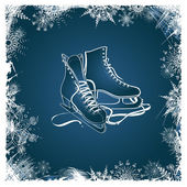 Winter illustration with figure skates — Vecteur
