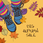 Autumn sale illustration with girls feet in boots — Stock Vector