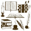 Set of isolated book icons  — Stock Vector