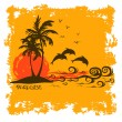 Summer illustration with tropical island — Stock Vector