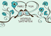 Wedding card or invitation with couple of kissing birds — 图库矢量图片