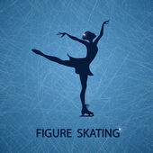 Illustration with figure skater — Vecteur