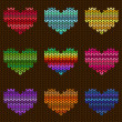 Seamless knitted pattern with hearts — Vettoriali Stock