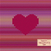 Valentine's knitted seamless pattern or card with heart — Stock Vector