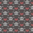Stock Vector: Knitted seamless pattern with skulls