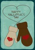 Cartão do dia dos namorados com luvinhas de malha — Vetor de Stock