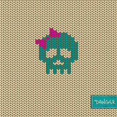 Knitted seamless pattern or background with skull — Stock Vector