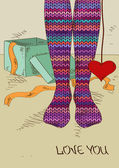 Illustration with girl's feet in knitted stockings — Stockvektor