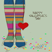 Illustration with girl's feet in knitted stockings — Vector de stock