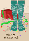 Illustration with girl's feet in knitted stockings — Vetorial Stock
