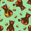 Seamless pattern with bears and bees — 图库矢量图片