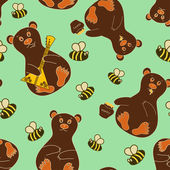 Seamless pattern with bears and bees — Stock Vector