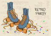 Illustration with retro roller skates — Stock Vector