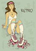 Retro illustration with girl on roller skates — Stock Vector