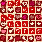 Valentine's greeting card or seamless pattern — Stock Vector