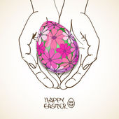 Easter greeting card with human hands holding egg — Vetorial Stock