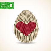 Easter greeting card with knitted egg — Stockvektor
