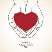 Love greeting card with human hands holding knitted heart — Stock Vector
