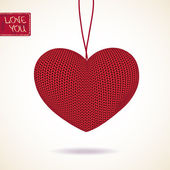 Love greeting card with knitted heart — Stock Vector