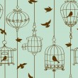 Seamless pattern of birds and cages — Stock Vector