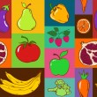 Stock Vector: Seamless pattern of fruits and vegetables