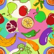 Seamless pattern of fruits and vegetables — Stock Vector
