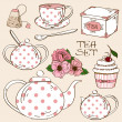 Set of isolated tea service icons — Stock Vector #37902791