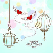 Valentine's greeting card with concept hearts and cage — Stock Vector
