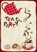 Tea party invitation with teapot and teacup — Stock Vector