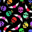 Seamless pattern of funny skulls and winged hearts — Stock Vector
