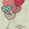 Vector de stock : Valentine's greeting card with heart air balloons