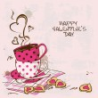 Valentine's greeting card with pair of teacups — ストックベクタ