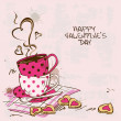 Valentine's greeting card with pair of teacups — Cтоковый вектор