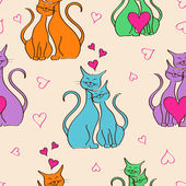 Seamless pattern with pair of lovers cats — Stock Vector