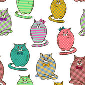 Seamless pattern of funny fat cats — Stock Vector