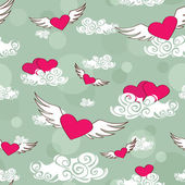 Seamless pattern of flying heats at the sky — ストックベクタ