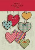 Cartão do dia dos namorados com corações de scrapbook — Vetor de Stock