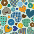 Seamless pattern of heart patchworks and buttons — Stock Vector