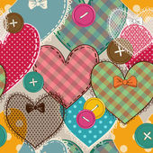 Seamless pattern of heart patchworks and buttons — Wektor stockowy