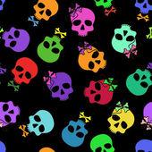 Seamless pattern of funny cartoon skulls — Stock Vector