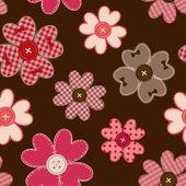 Seamless mönster av blomma patchworks och knappar — Stockvektor