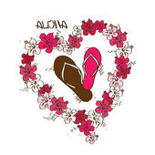 Illustration with flip flops and lei flowers garland — Vetorial Stock