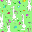 Stock Vector: Seamless pattern of funny rabbits