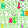 Stock Vector: Seamless pattern of bunny rabbits and Easter eggs