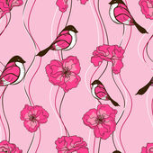 Seamless pattern of flowers and birds — ストックベクタ